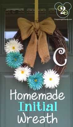 I get TONS of compliments on this wreath. So easy to make and you can change the flowers out!