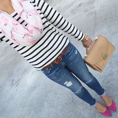 Flamingo infinity scarf, Striped shirt, AG distressed skinny jeans, Kate Spade lottie pumps, Loeffler Randall rider bag. stripes outfit, pink pumps, camel purse, spring outfit - click the photo for outfit details!