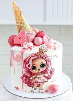 Cake Decorating Techniques, Cake Decorating Tips, Cake Frosting Designs, Fondant Cake Tutorial, Pink Birthday Cakes, Hello Kitty Cake, New Cake, Novelty Cakes, Cake Servings