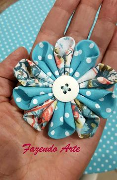 Curled fabric flower hair bow clip