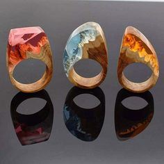 wood + resin rings