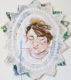 I've started the Sylvia Plath lampshade but not photographed any of it yet so I thought I'd look back to where I started with portraits in stitch. Flash back to my first ever stitched self portrait from a few years ago. Funny to see how raw it is now looking back and how I've progressed. Always fun looking back and cringing a bit but we've all got to start somewhere. Over the last year I've been trying out lots of different subjects and in particular the last few months I've put the appliqué…