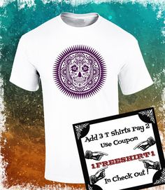 T Shirt with Mexican Sugar Skull Skull of the Day por ArteImMrAmA