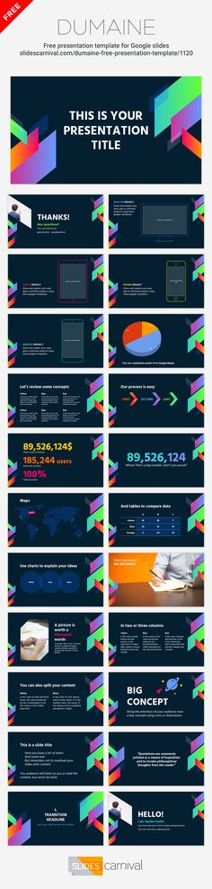 This free presentation template features a really modern and bold design. The geometric shapes over the dark background achieve a young and dynamic look. It is a great slides theme for a startup elevator pitch, or to talk about trends, music, videogames, etc. It's not easy to adapt it to an existing brand (although you can change the shapes colors if needed), nevertheless you should use it if you want to leave a mark and make your message stand out from the crowd.