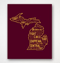 Typography Poster - Central Michigan University Inspired - Fire Up Chips - Poster Print Cute Dorm Ideas, Diy Ideas, Craft Ideas, Graduation Cap Decoration, Graduation Gifts, Michigan Quotes, Michigan Crafts, Central Michigan University, Ap Psychology