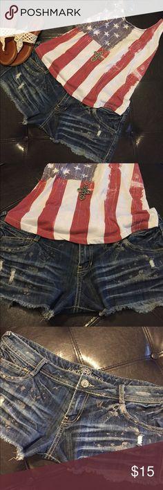 🌺DISTRESSED JEAN SHORTS🌺 🌺LIKE NEW! Super cute distressed Jean shorts. Has some stretch to them. 🌺 Almost Famous Shorts Jean Shorts