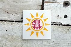 Sun Beach Summer Monogram Decal Preppy Southern Warm Monogram Car Sticker Decal Laptop Decal Custom Water Bottle Monogram Sticker Decal by OopsieDaysi on Etsy https://www.etsy.com/listing/263915337/sun-beach-summer-monogram-decal-preppy