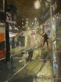 """Near the Institute  night city painting by Robin Weiss"" by Robin Weiss"