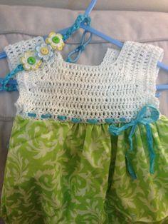 Newborn crochet dress and headband set