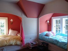 could do built in bed in reese's sloped wall niche? Girl Room Design Ideas, Pictures, Remodel and Decor Alcove Bed, Bed Nook, Teenage Girl Bedrooms, Girls Bedroom, Bedroom Ideas, Childrens Bedroom, Bedroom Decor, Built In Bed, Built Ins