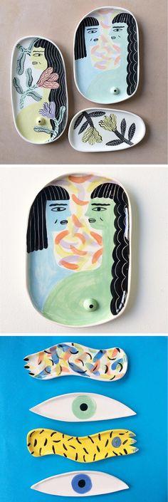 Illustrated Ceramics by Laura Bird   painted vases   creative painted ceramics   illustrated products