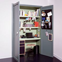 Closet office, so convenient to shut away the mess of bills ....awesome.