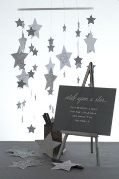 Love this! Star Mobile. Display guest-written notes in a whimsical, dream-filled mobile montage.