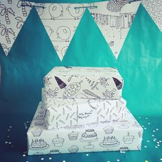 Fijne dingen voor een feestje! #party #pakpapier #vlaggetjes #garland #wrappingpaper #pattern #colouring #paper #sillygoose