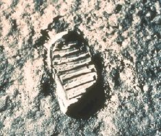 September 21, 1995:     One Small Step   -   Credit: NASA, Kennedy Space Center, Neil Armstrong  -    Explanation: On July 20th, 1969, a human first set foot on the Moon. Pictured above is the first lunar footprint. The footprint and distinction of the first person to walk on the Moon belong to Neil Armstrong.   More...