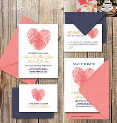 Hochzeit Einladung Ausdrucke RSVP Finger print von DallinsPaperie