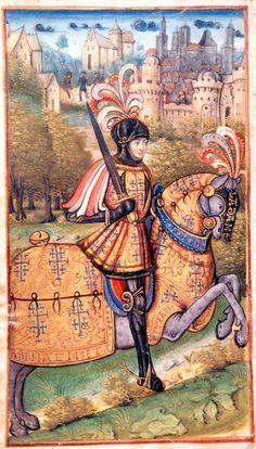"""Miniatura de um manuscrito """"La Nancéide"""" de Pierre de Blarru. Final do século XV. René Lorraine."""