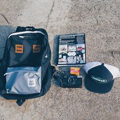 Backpack GREY BLACK and Trucker Cap BLACK from CUB TRAVELER, things to wear when you traveling and definitely things to have for your collection!!