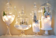 These DIY snow globes will be a favorite holiday decoration. Image Source: Pink PistachioThese DIY snow globes will be a favorite holiday decoration. Noel Christmas, Winter Christmas, Vintage Christmas, Simple Christmas, Christmas Mantles, Miniature Christmas, Christmas Scenes, Victorian Christmas, Christmas Christmas