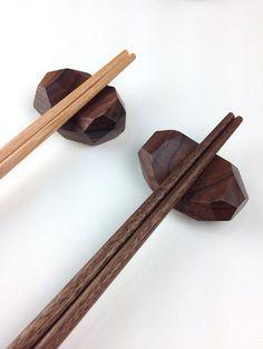 A walnut chopstick rest / wood / kitchen / by March8studio on Etsy