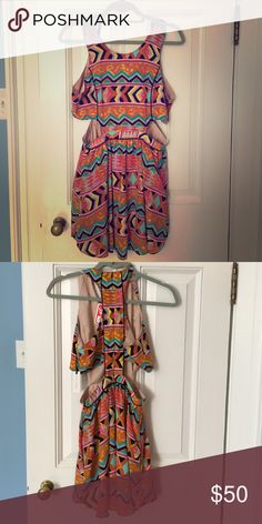 Sleeveless printed dress Multi-colored tribal printed dress, razor back with slits on the sides Lovers + Friends Dresses Mini