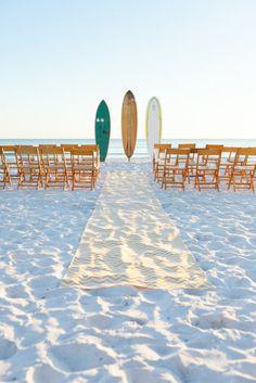 Beach wedding // Surf Wedding Aisle. Event Decor by Ceremony Design Company / ceremonydesigncompany.com, Photography by Mad Love Weddings / bookmadlove.com