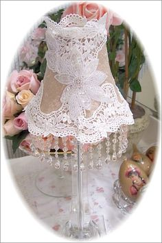 Bella Rosa Designs Romantic Cottage Victorian Rose Decor  Lace on a lampshade. Now that's how to upcycle an old lamp!