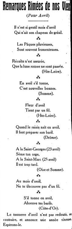 Le Bien du terrien, viticole, agricole et littéraire. Organe d'éducation rurale (avril 1922). Dictons du mois d'avril.