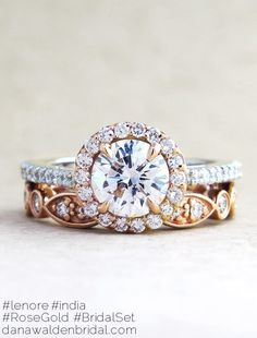 Lenore Custom Rose Gold + Platinum Diamond Halo Engagement Ring - The Perfect Halo – Dana Walden Bridal :: Engagement Ring Designers - NYC. LOVE THE COLOR COMBO #halorings #diamondengagementring #diamondengagementrings #haloengagementring