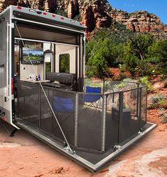 Toy Hauler Camper, Toy Hauler Travel Trailer, Cargo Trailers, Travel Trailers, Camper Life, Camper Van, Motorhome, Cargo Trailer Conversion, Garage Remodel