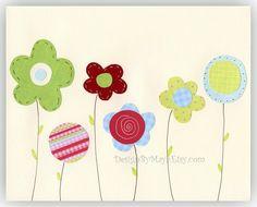 Nursery Decor Art for Kids Room..Flowers