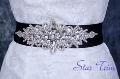MAGGIE Swarvoski rhinestone wedding bridal sash , belt. $85.00, via Etsy.