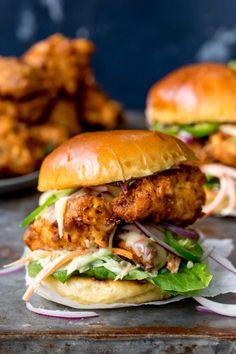 Homemade Chicken Burgers, Crispy Chicken Burgers, Homemade Sandwich, Fried Chicken Sandwich, Baked Chicken, Chicken Recipes, Cajun Chicken Burger, Buttermilk Chicken Burger, Homemade Honey Mustard