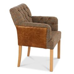 Scout Grand Leather & Harris Tweed Dining Chair - Modish Living