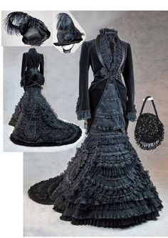 Mourning Dress and accessories. This is the sexiest Victorian gown I've seen in a while, and it's a mourning dress! Mode Steampunk, Victorian Steampunk, Steampunk Fashion, Gothic Fashion, Emo Fashion, Steampunk Dress, Club Fashion, Vintage Gothic, Steampunk Clothing