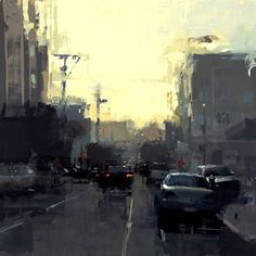 """""""Mission Sunset"""" Oil on Panel 12 x 12 inches - Jeremy Mann"""
