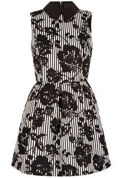 Stripe & Floral Collar dress black/white