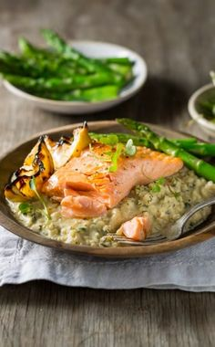 Lemon and Herb Risotto with Grilled Trout recipe with NOMU Chicken or Vegetable Fonds Trout Recipes, Pasta Recipes, Grilled Trout, Prawn Pasta, Food Humor, Funny Food, Lemon Recipes, Healthy Recipes, Fish And Seafood