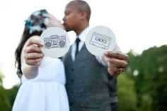 themed wedding inspiration from project wedding. love the cassette and boom box Wedding Invitation Inspiration, Wedding Inspiration, Wedding Ideas, Wedding Invitations, Wedding Book, Our Wedding Day, High School Love, High School Sweethearts, School Themes