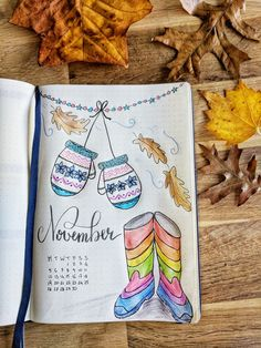 November bullet journal cover page - gloves, foliage and wellies illustration