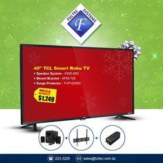"Get the Ultimate Entertainment Bundle!  TCL 40"" Smart Roku TV  + Klip BluPulse Bluetooth Speaker System with FM Radio, Aux input, USB & SD Card player + Klip Fixed Tilt TV Bracket + Forza Surge Protector  for only $1,249  #FultecSystems #EarlyBirdGetsTheWorm #ChristmasInNovember #TCL #SmartTV #RokuTV"