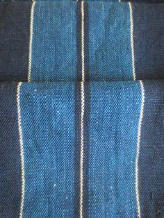 Antique Japanese Indigo Striped Fabric. A solid hand woven indigo piece, deep indigo with medium indigo stripes. Features selvedges ends. $60aud www.naturecollect.com