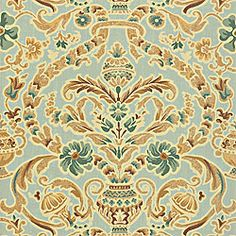 Palisades-Aqua for English Country bedroom draperies