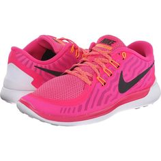 Nike Free 5.0 (Pink Foil/Pink Pow/Bright Citrus/Black) Women's Running... ($55) ❤ liked on Polyvore featuring shoes, athletic shoes, sneakers, pink, athletic running shoes, flexible running shoes, black low tops, lightweight running shoes and nike athletic shoes