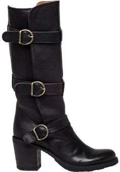 93e102908aaf Love this  Lety Buckled Leather Knee-High Boots  Lyst Black Leather Boots