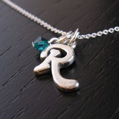 LINDSEY sterling silver initial charm necklace with birthstone crystal