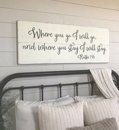 Bedroom wall decor, Where you go I will go, wood sign, bedroom sign  *This sign is appx. 48 wide x 18.5 high. *The lettering is hand painted. *The base is a distressed antique white (ivory). *The lettering is a charcoal gray. *It includes a sturdy wire hanger already installed on the back. *If youd like to purchase more than one sign from my shop, I will package your signs together, (sizes permitting) and refund you whatever extra you paid on shipping. *Our signs are made for interior…