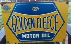 Golden Fleece service station motor oil bottle rack sign