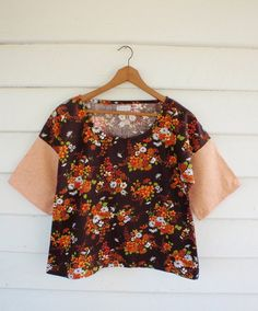 Womens Tunic Top Pullover Blouse 70s Floral LINNET by apieceofpie, $110.00