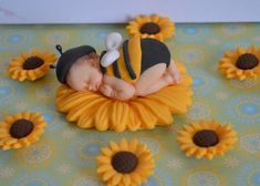 Sleeping baby bee cake topper with sunflowers by DreamDayShoppe, $22.00